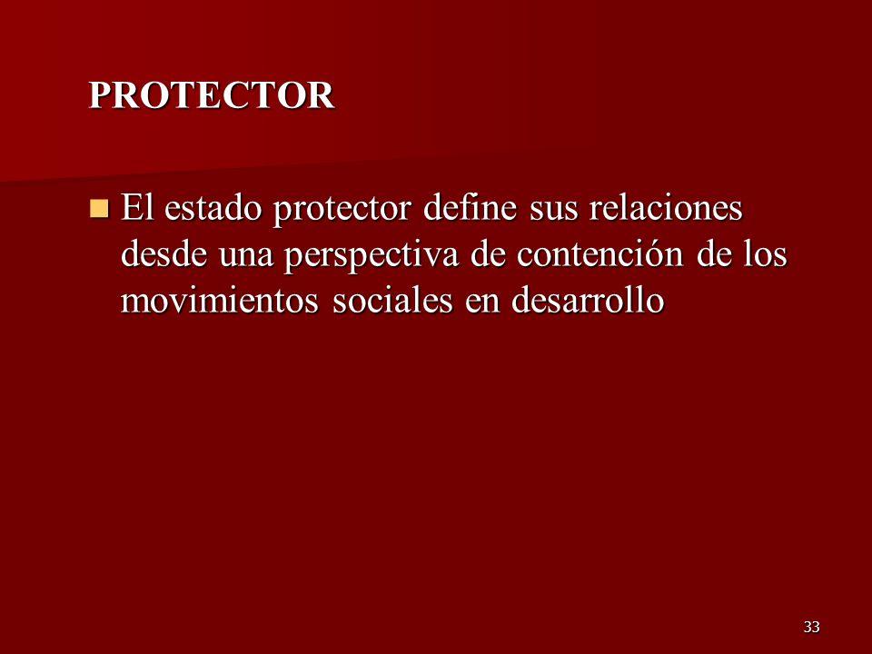 PROTECTOR El estado protector define sus relaciones desde una perspectiva de contención de los movimientos sociales en desarrollo.