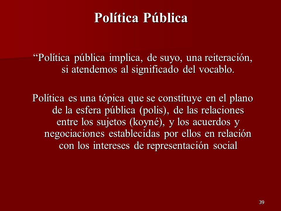 Política Pública Política pública implica, de suyo, una reiteración, si atendemos al significado del vocablo.