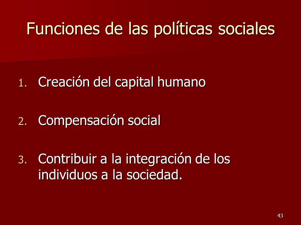 Funciones de las políticas sociales