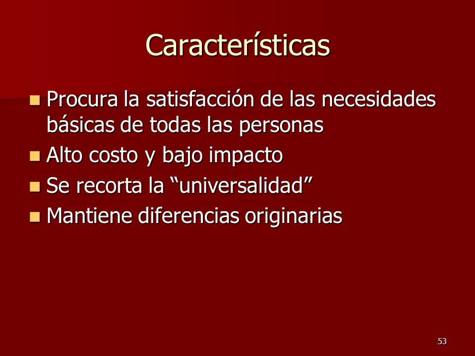 Características Procura la satisfacción de las necesidades básicas de todas las personas. Alto costo y bajo impacto.