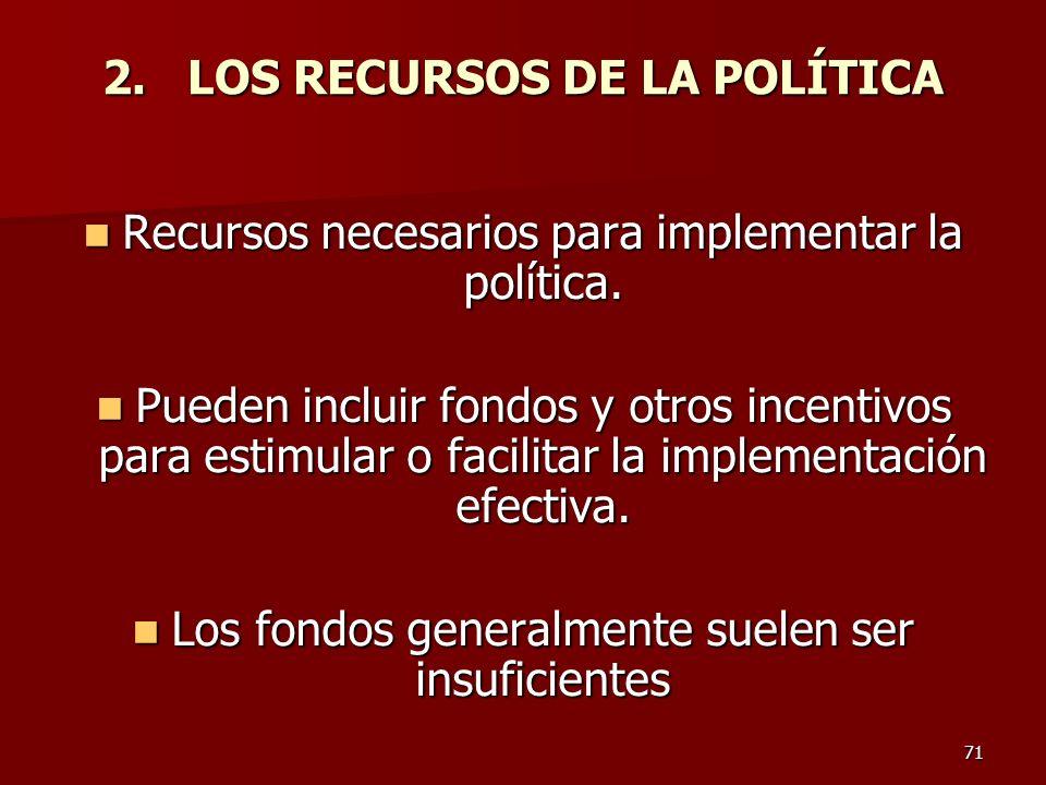 2. LOS RECURSOS DE LA POLÍTICA