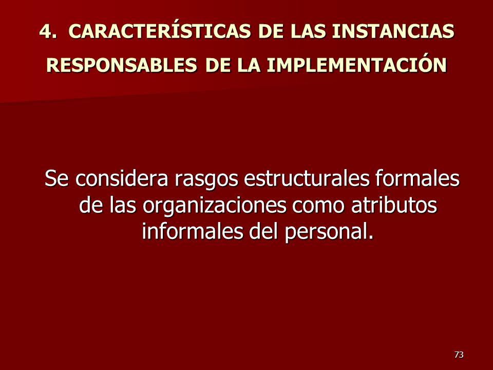 4. CARACTERÍSTICAS DE LAS INSTANCIAS RESPONSABLES DE LA IMPLEMENTACIÓN