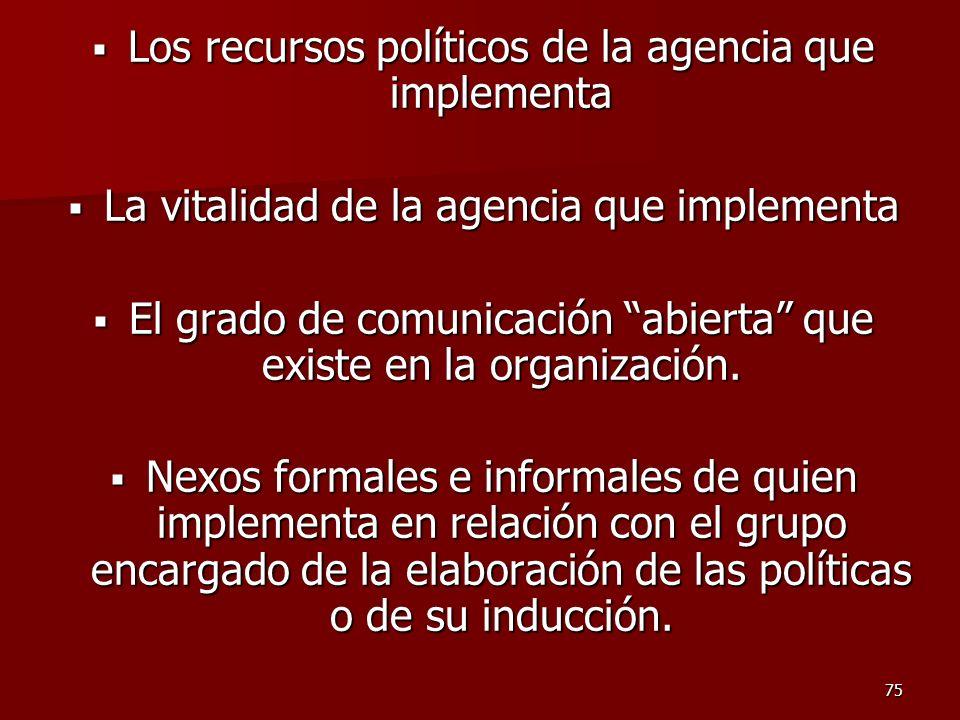 Los recursos políticos de la agencia que implementa