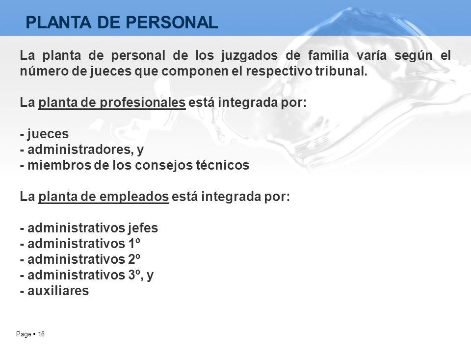 PLANTA DE PERSONAL La planta de personal de los juzgados de familia varía según el número de jueces que componen el respectivo tribunal.