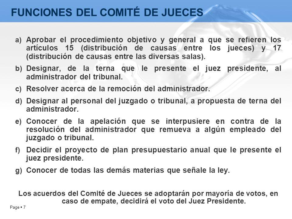 FUNCIONES DEL COMITÉ DE JUECES
