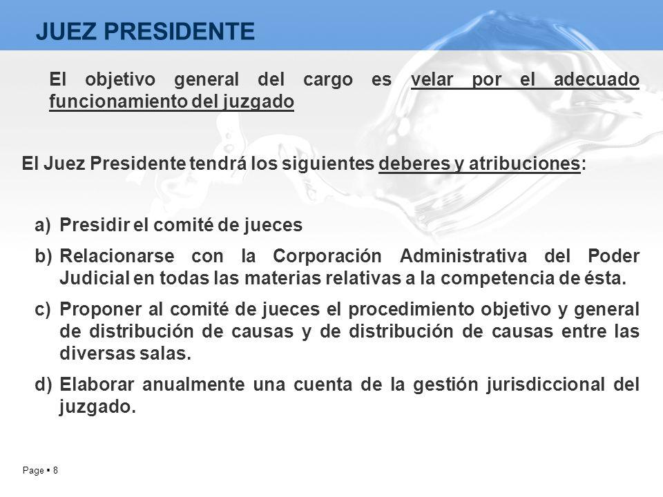 JUEZ PRESIDENTE El objetivo general del cargo es velar por el adecuado funcionamiento del juzgado.