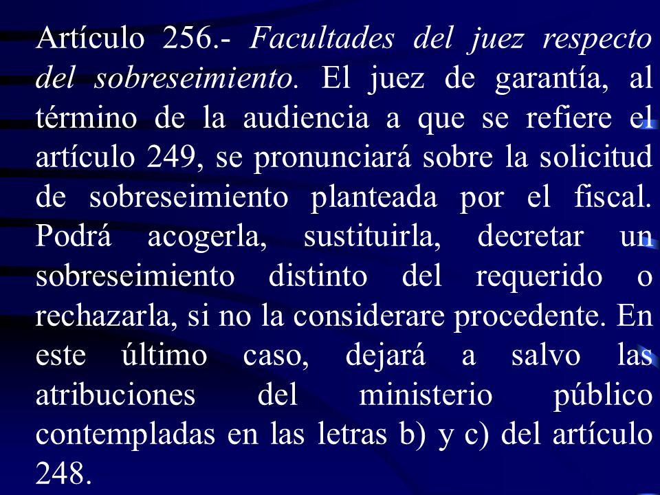 Artículo 256. ‑ Facultades del juez respecto del sobreseimiento
