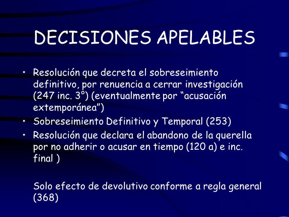 DECISIONES APELABLES