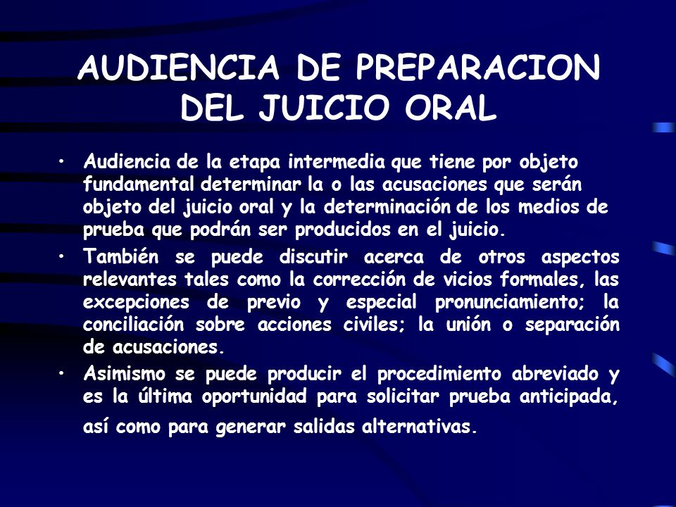 AUDIENCIA DE PREPARACION DEL JUICIO ORAL