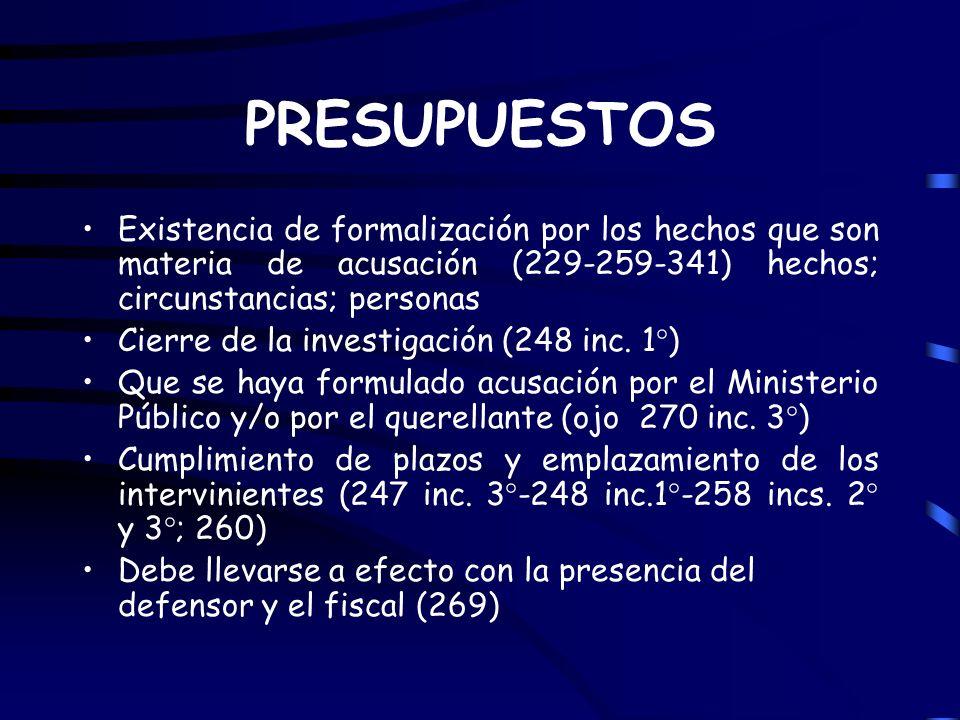 PRESUPUESTOS Existencia de formalización por los hechos que son materia de acusación (229-259-341) hechos; circunstancias; personas.