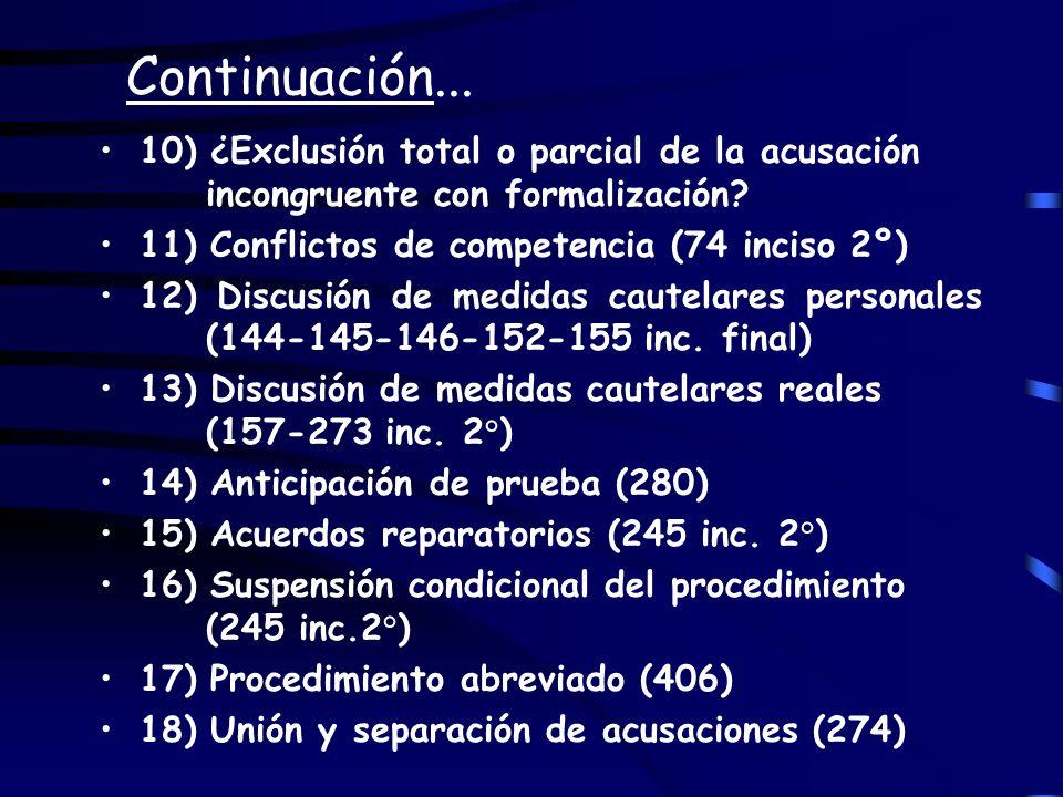 Continuación... 10) ¿Exclusión total o parcial de la acusación incongruente con formalización 11) Conflictos de competencia (74 inciso 2º)