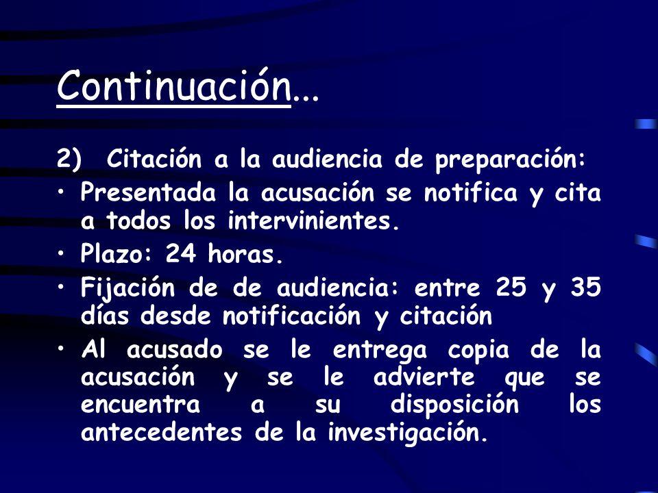 Continuación... 2) Citación a la audiencia de preparación: