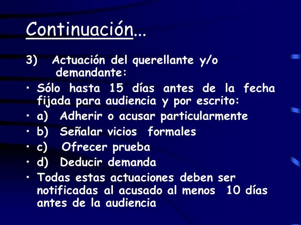Continuación... 3) Actuación del querellante y/o demandante: