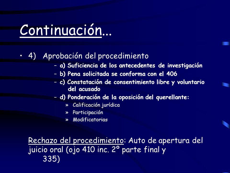 Continuación... 4) Aprobación del procedimiento