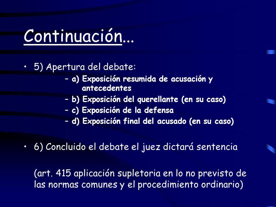 Continuación... 5) Apertura del debate: