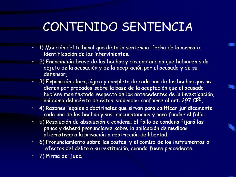 CONTENIDO SENTENCIA 1) Mención del tribunal que dicta la sentencia, fecha de la misma e identificación de los intervinientes.