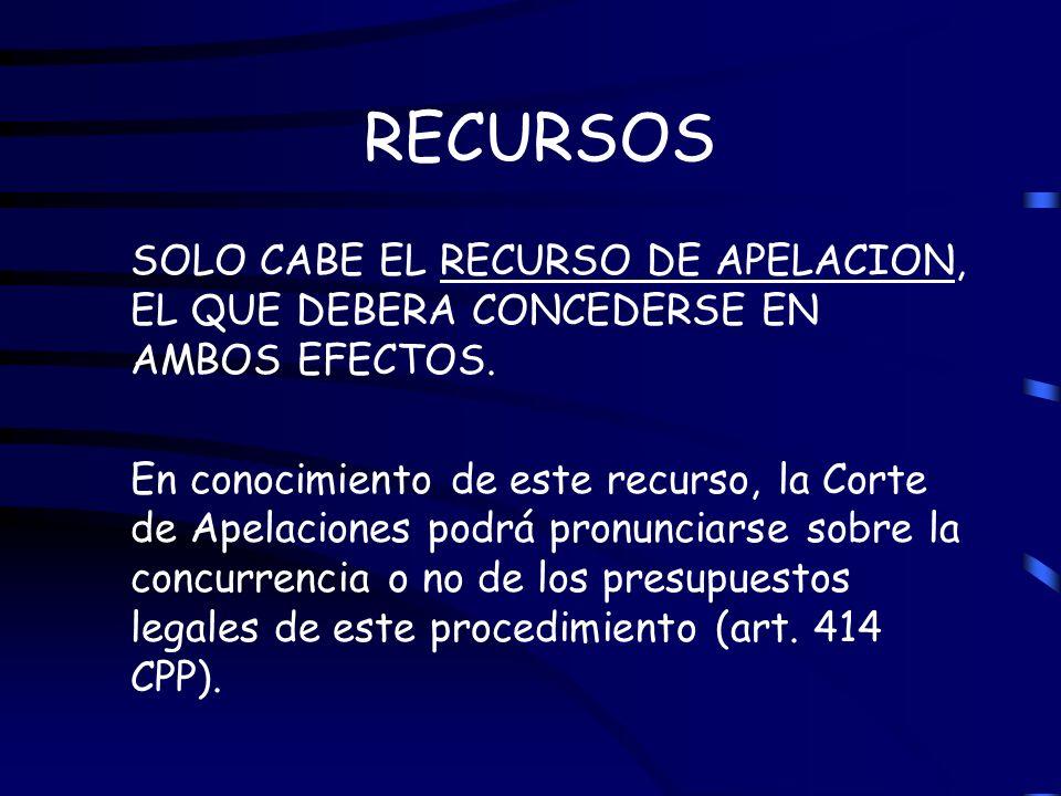 RECURSOS SOLO CABE EL RECURSO DE APELACION, EL QUE DEBERA CONCEDERSE EN AMBOS EFECTOS.