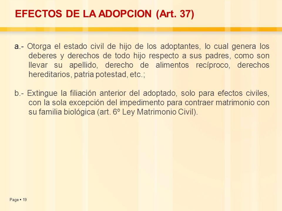 EFECTOS DE LA ADOPCION (Art. 37)