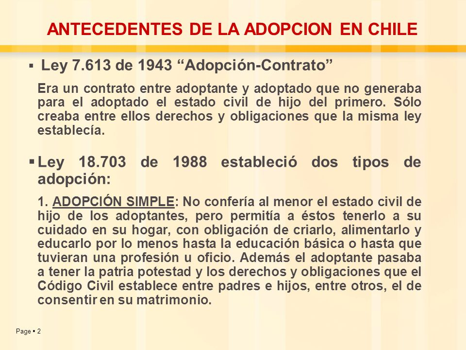 ANTECEDENTES DE LA ADOPCION EN CHILE
