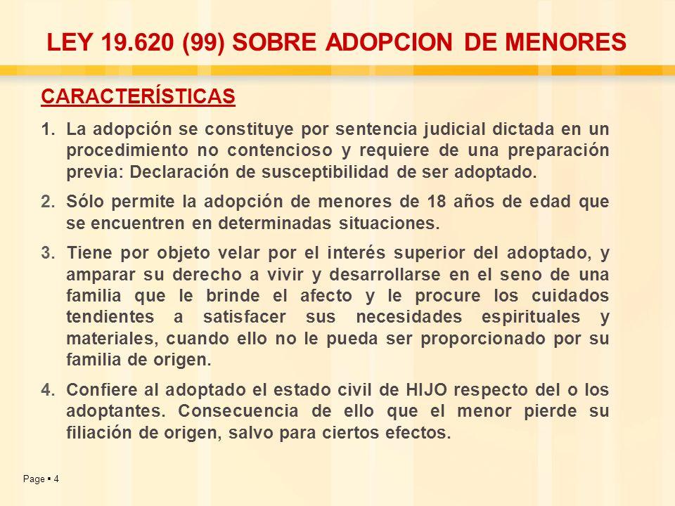 LEY 19.620 (99) SOBRE ADOPCION DE MENORES