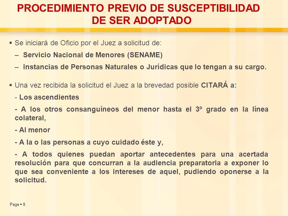 PROCEDIMIENTO PREVIO DE SUSCEPTIBILIDAD DE SER ADOPTADO