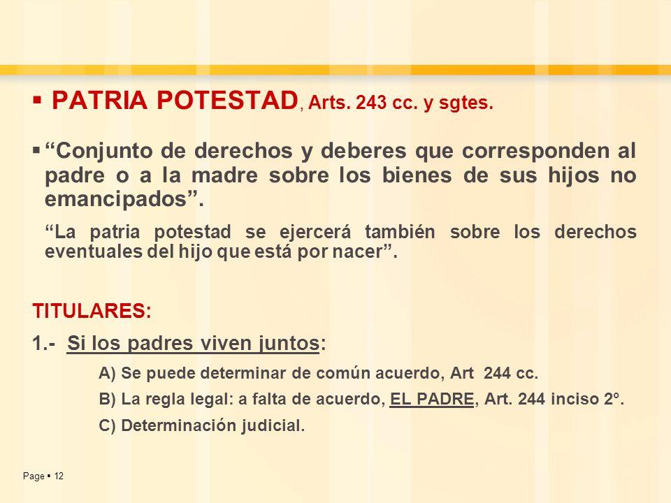PATRIA POTESTAD, Arts. 243 cc. y sgtes.