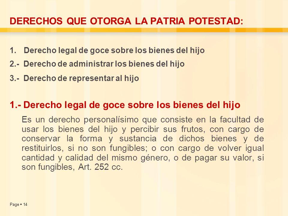 DERECHOS QUE OTORGA LA PATRIA POTESTAD: