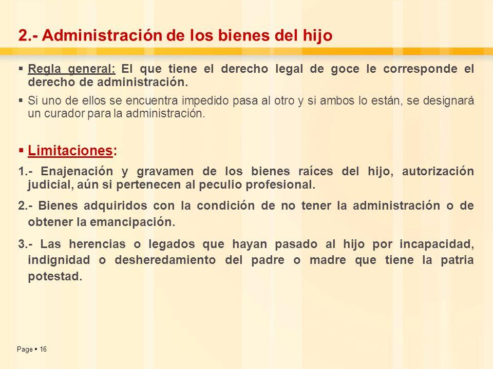 2.- Administración de los bienes del hijo