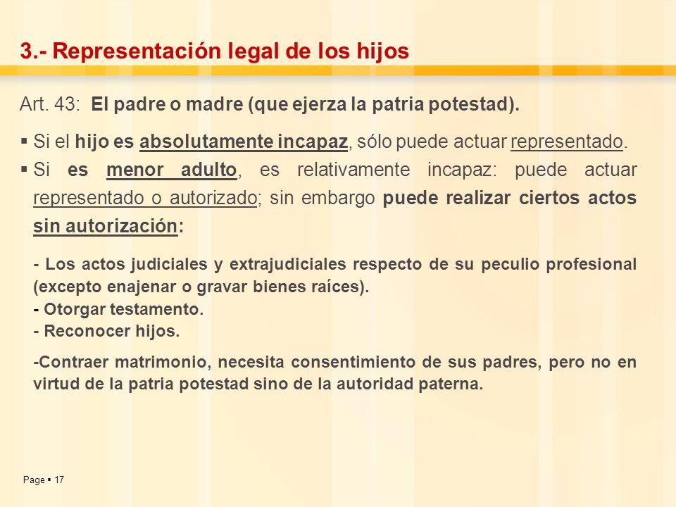 3.- Representación legal de los hijos