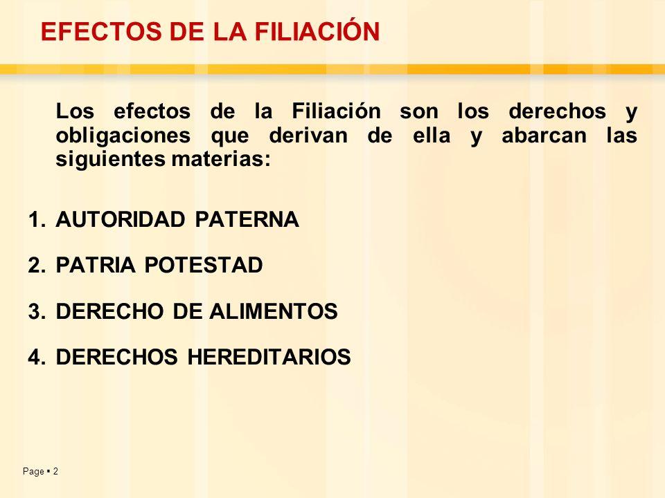 EFECTOS DE LA FILIACIÓN