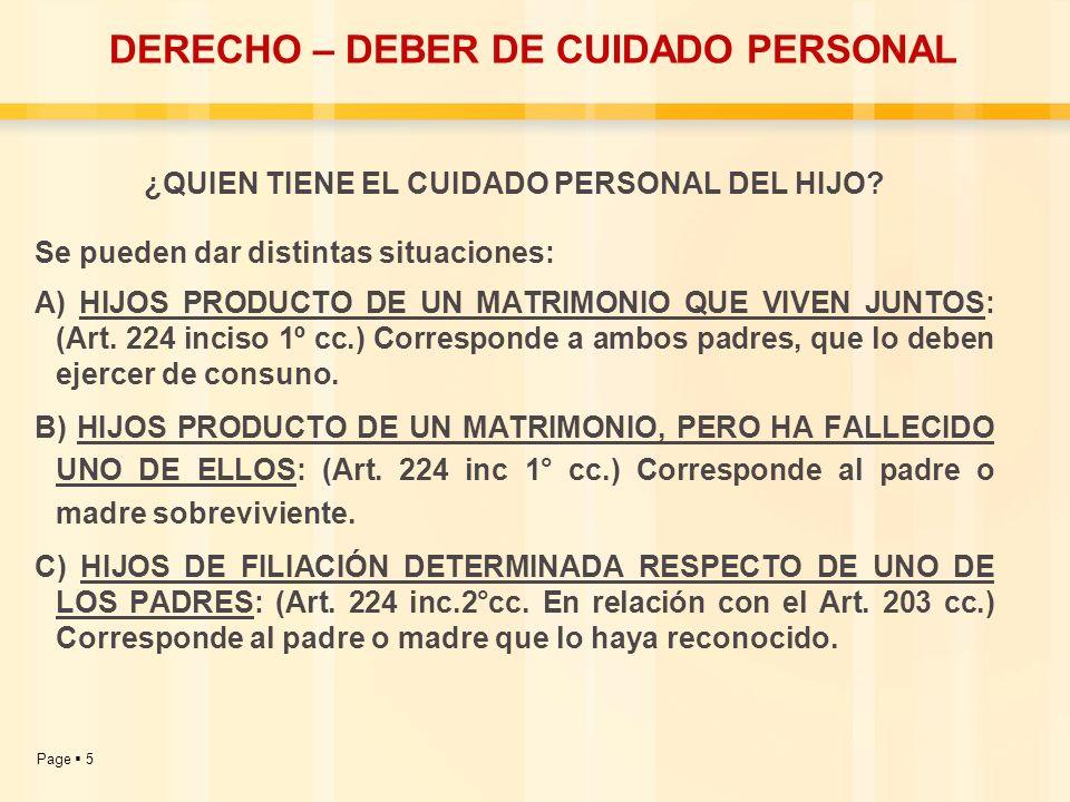 DERECHO – DEBER DE CUIDADO PERSONAL