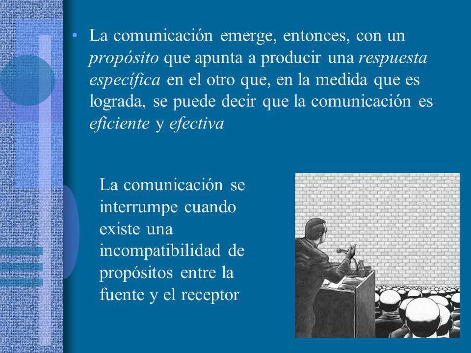 La comunicación emerge, entonces, con un propósito que apunta a producir una respuesta específica en el otro que, en la medida que es lograda, se puede decir que la comunicación es eficiente y efectiva