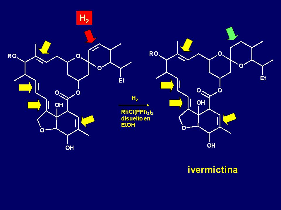H2 H2 RhCl(PPh3)3 disuelto en EtOH ivermictina