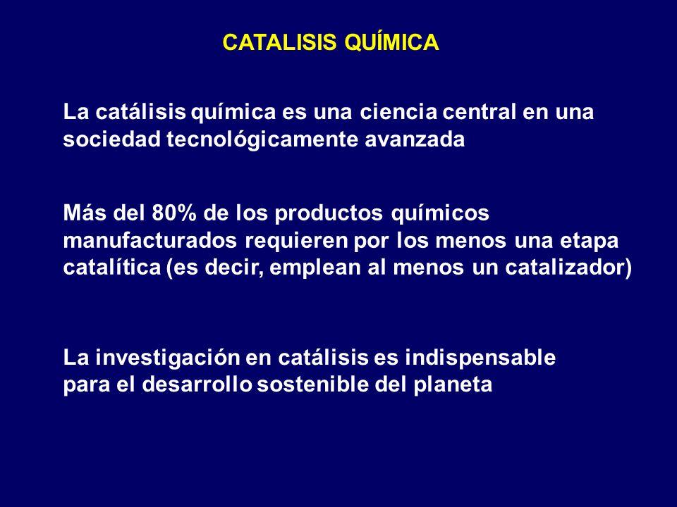 CATALISIS QUÍMICA La catálisis química es una ciencia central en una sociedad tecnológicamente avanzada.