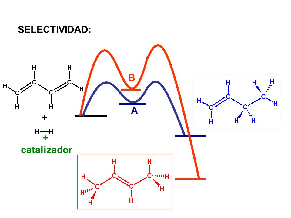 SELECTIVIDAD: B A + catalizador 1,3-butadieno, 1-buteno, 2-buteno
