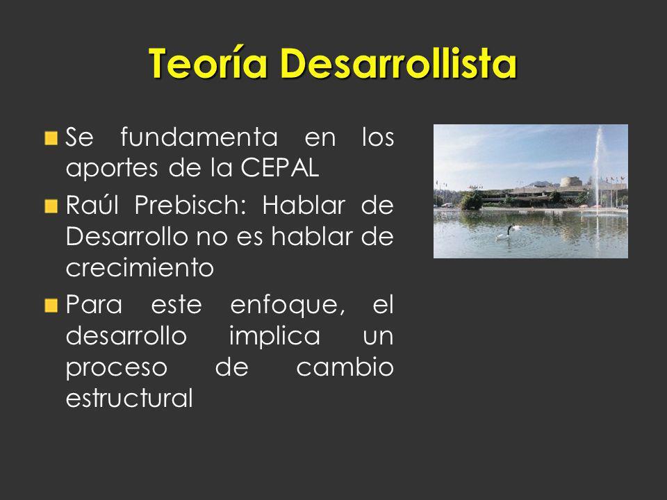 Teoría Desarrollista Se fundamenta en los aportes de la CEPAL
