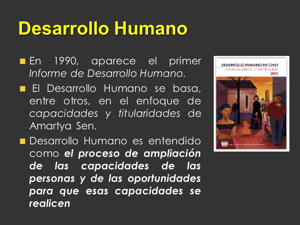 Desarrollo Humano En 1990, aparece el primer Informe de Desarrollo Humano.