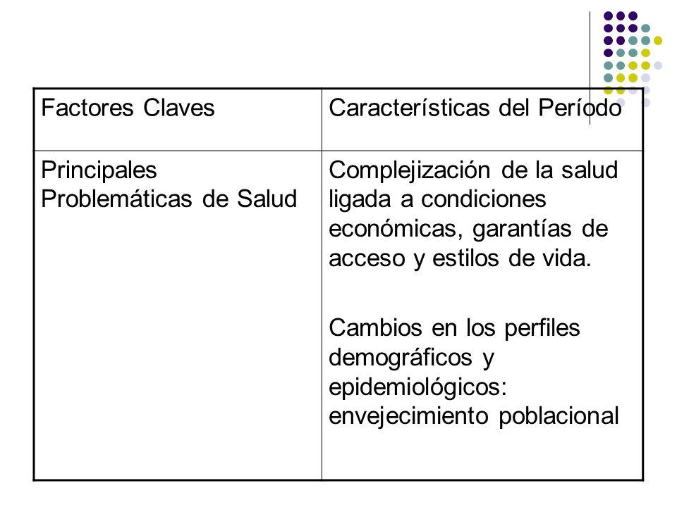 Factores Claves Características del Período. Principales Problemáticas de Salud.