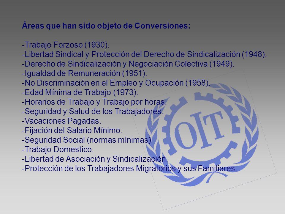 Áreas que han sido objeto de Conversiones: