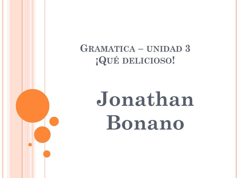 Gramatica – unidad 3 ¡Qué delicioso!