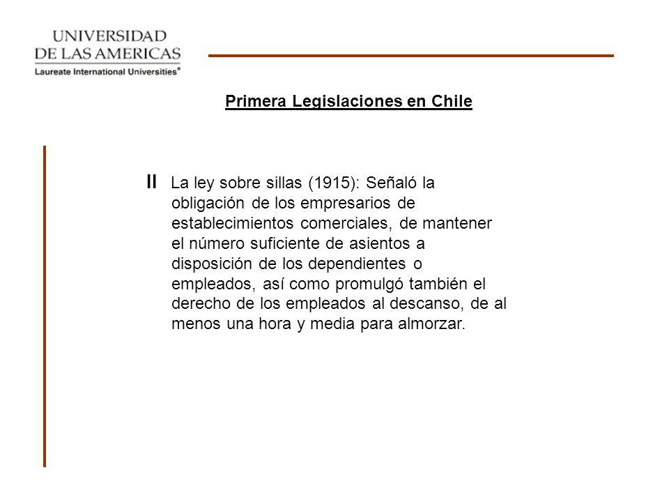 Primera Legislaciones en Chile