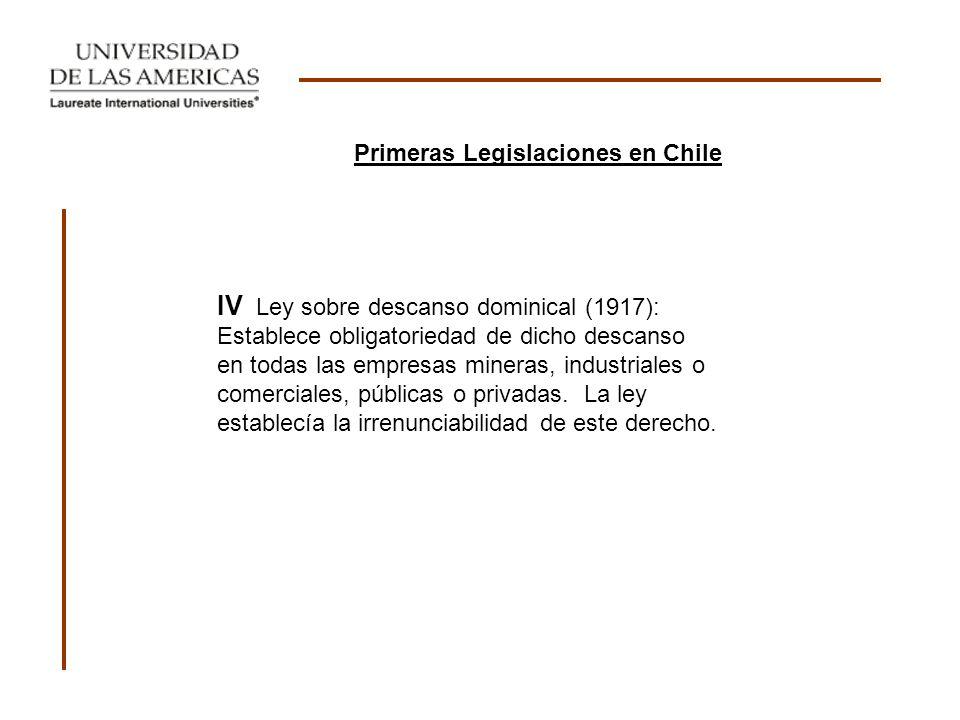Primeras Legislaciones en Chile