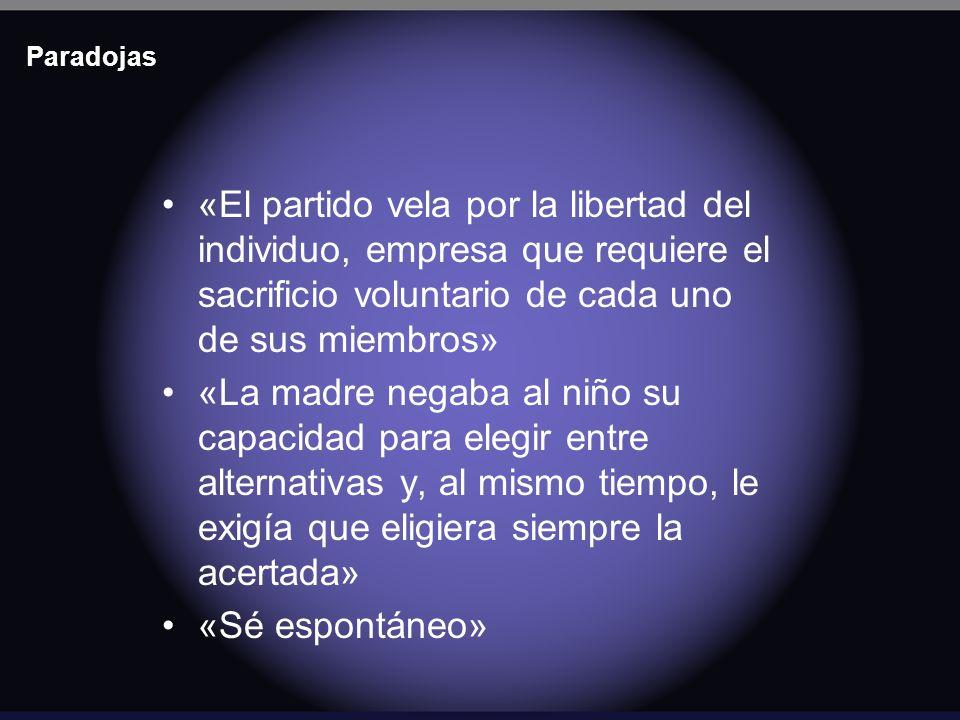 Paradojas «El partido vela por la libertad del individuo, empresa que requiere el sacrificio voluntario de cada uno de sus miembros»