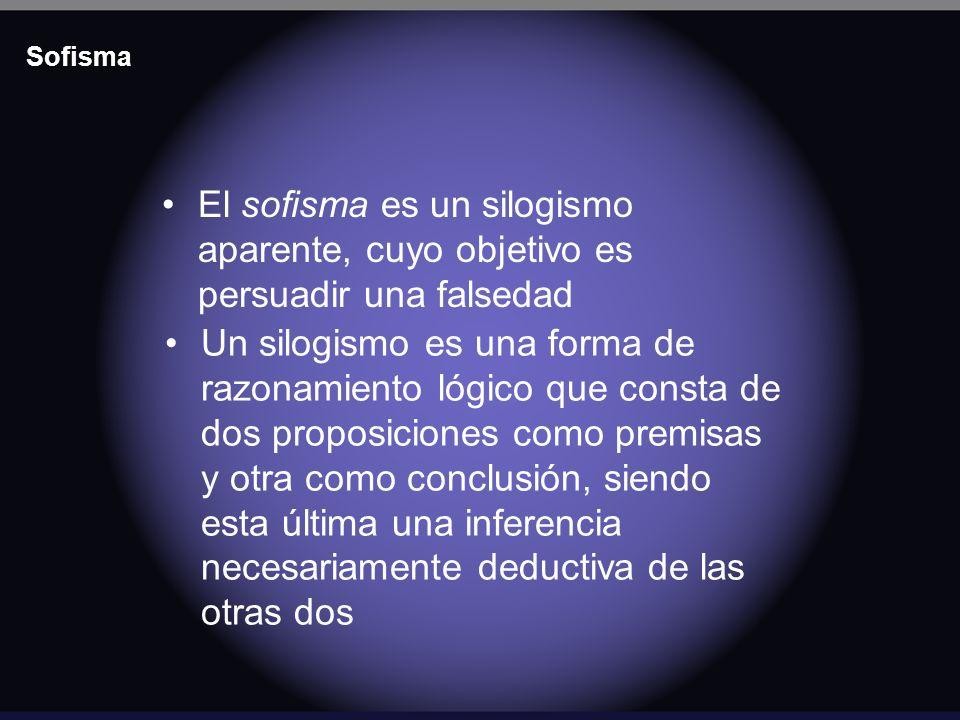 Sofisma El sofisma es un silogismo aparente, cuyo objetivo es persuadir una falsedad.
