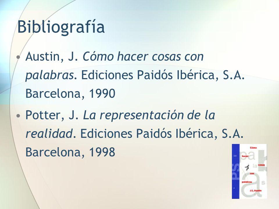 BibliografíaAustin, J. Cómo hacer cosas con palabras. Ediciones Paidós Ibérica, S.A. Barcelona, 1990.