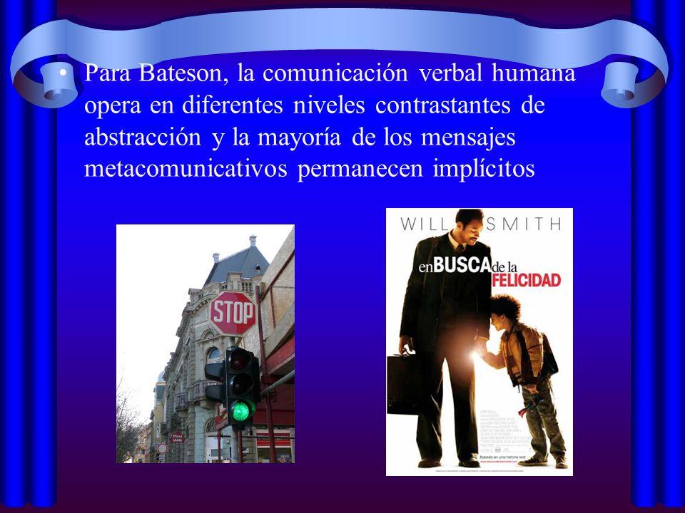 Para Bateson, la comunicación verbal humana opera en diferentes niveles contrastantes de abstracción y la mayoría de los mensajes metacomunicativos permanecen implícitos