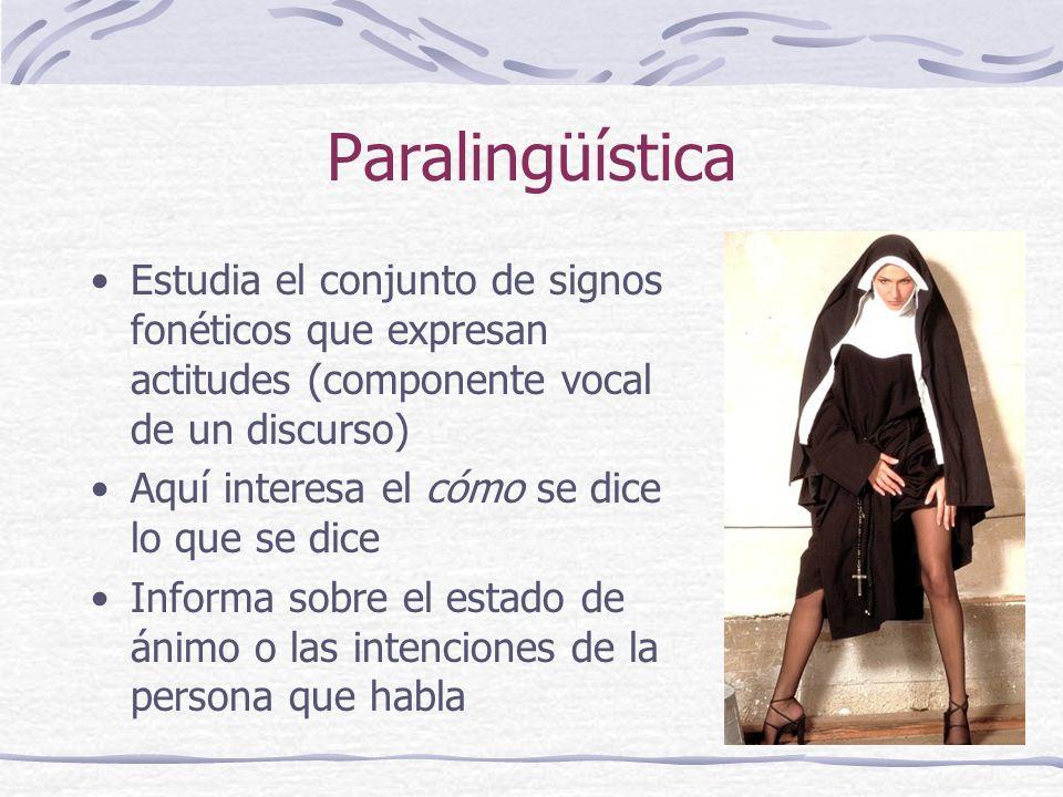 Paralingüística Estudia el conjunto de signos fonéticos que expresan actitudes (componente vocal de un discurso)