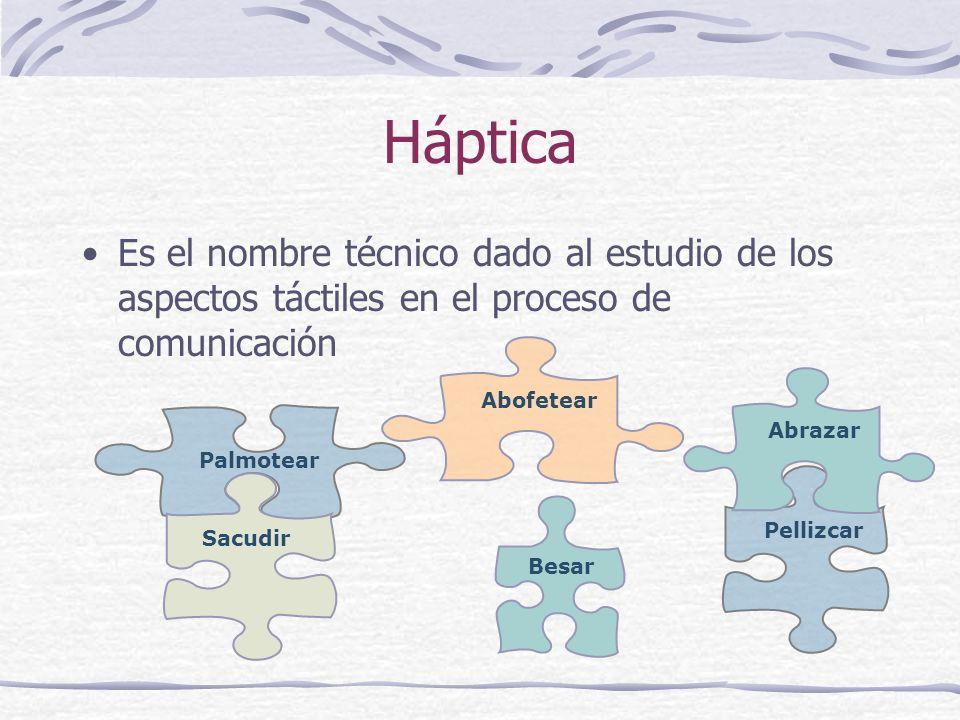 Háptica Es el nombre técnico dado al estudio de los aspectos táctiles en el proceso de comunicación.