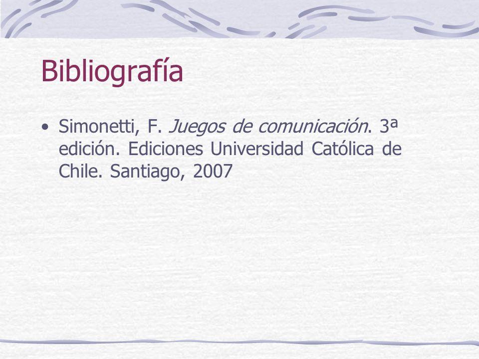 Bibliografía Simonetti, F. Juegos de comunicación.