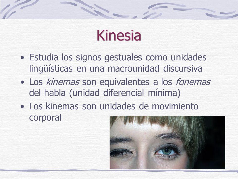 Kinesia Estudia los signos gestuales como unidades lingüísticas en una macrounidad discursiva.